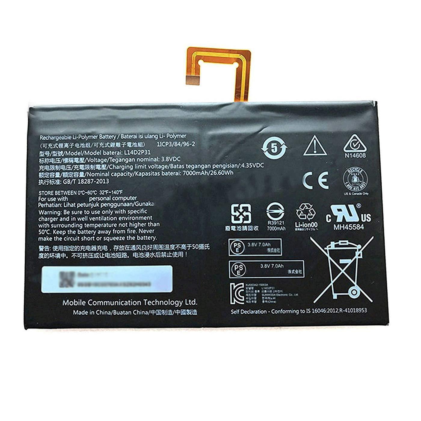 Bateria Dentsing L14D2P31 para Lenovo TAB 2 A10-70 A10-70F A10-70L TB2-X30 TB2-X30M
