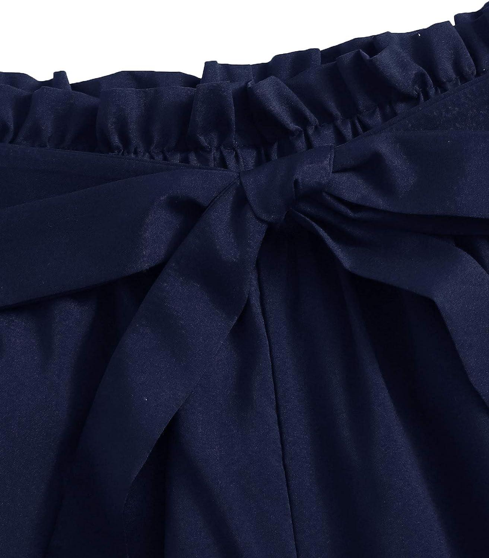 Didk Short d/ét/é pour femme Taille /élastique Style d/écontract/é Avec ceinture et n/œud