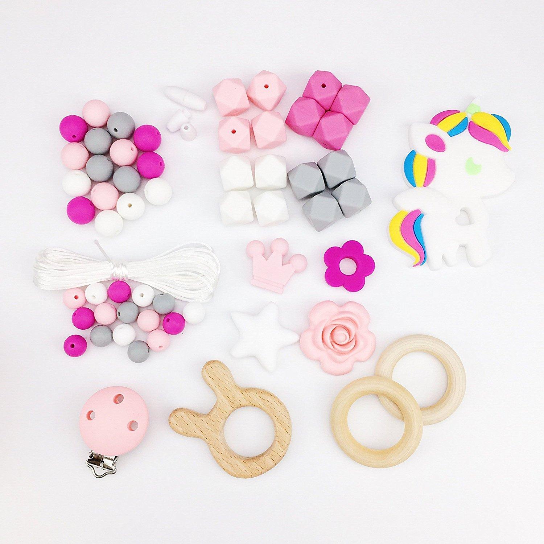 Mamimami Home DIY Collier de soins infirmiers Perles de dentition Bracelet en silicone Baby Teether Train Clips de sucette Charmes d'infirmière