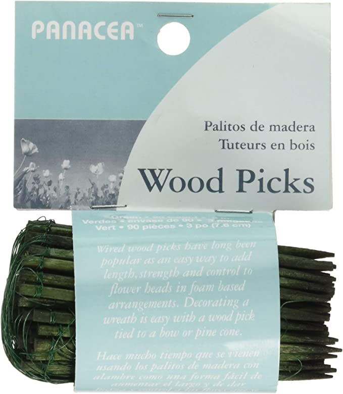 2-1//2 Green Wooden Wired Picks Florist Wood Stakes Floral Bows Crafts 75ct