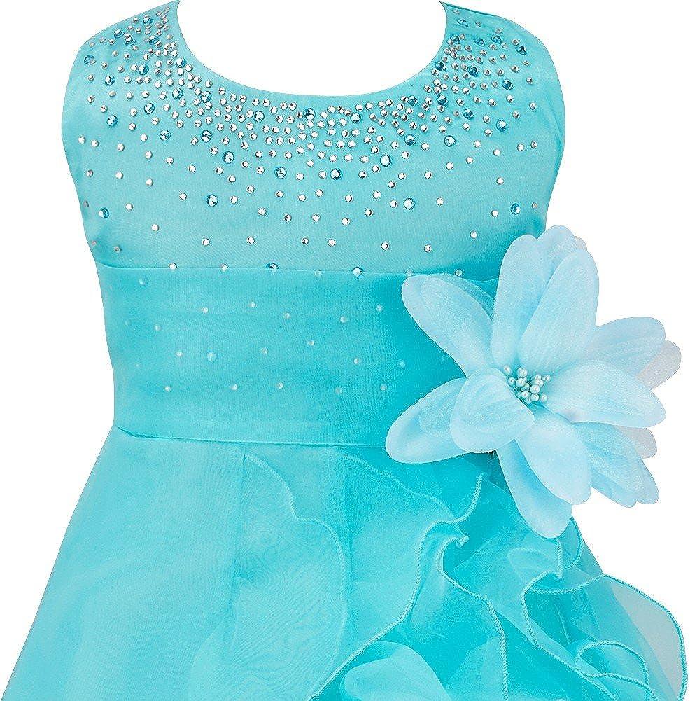 IBAKOM Baby M/ädchen Taufe Kleidung Zeremonie Geburtstag Party Kleid Blumenm/ädchen Brautkleid mit Gro/ßer Bowknot Stirnband Fotoshooting Outfit