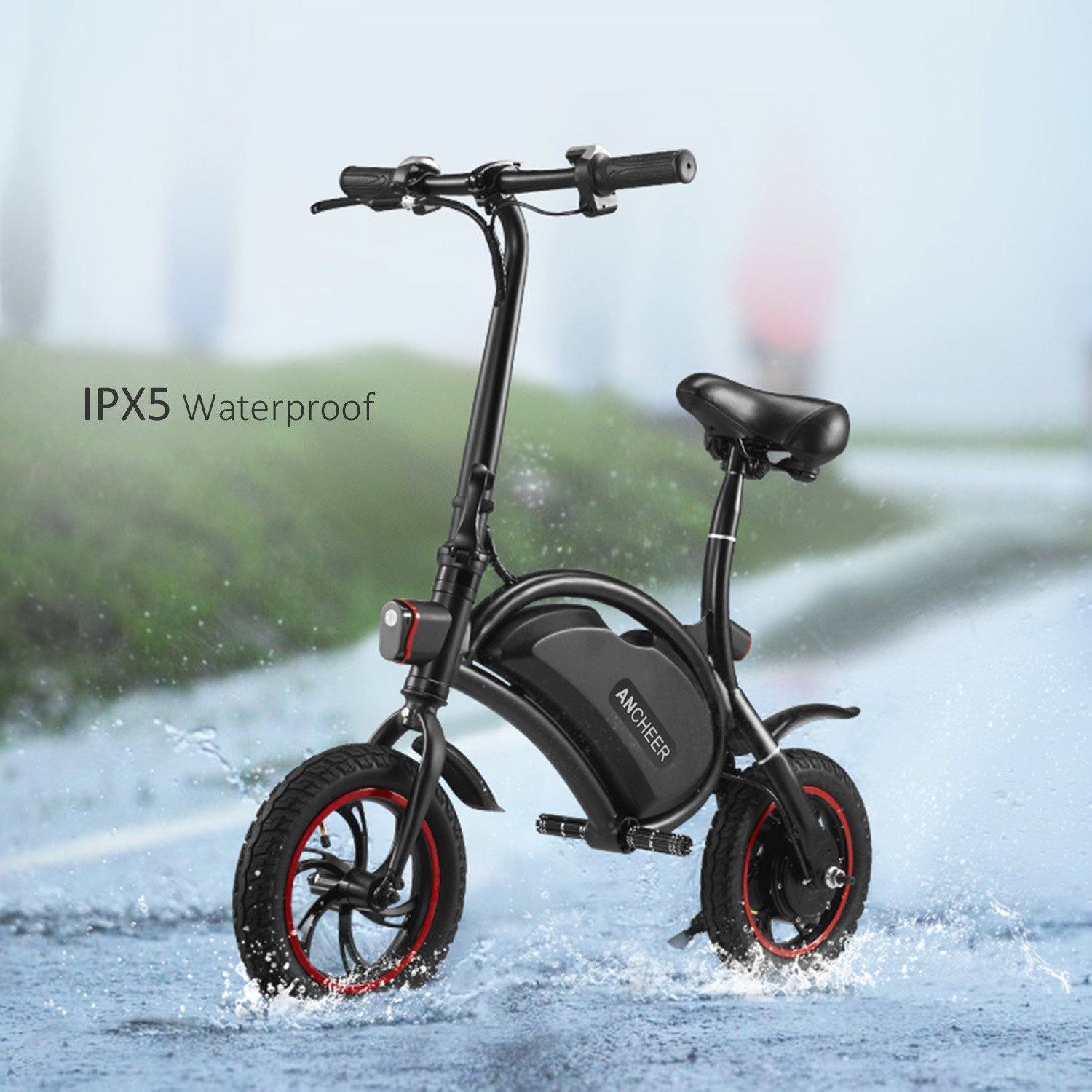 REVIEW ANCHEER Folding Electric Bicycle E-Bike Scooter 350W Powerful Motor Waterproof Ebike with 12 Mile Range, APP Speed Setting | Electric Bike in Seattle WA 71BzTZ73AjL._SL1500_