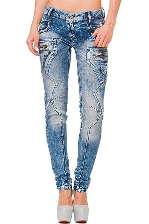 Cipo   Baxx - Jeans - Slim - Femme Bleu Bleu - Bleu - W44  Amazon.fr ... 713d17396f