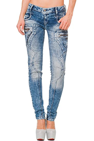 CIPO & BAXX Damen Slim Fit Jeans Freizeit Hose High Waist