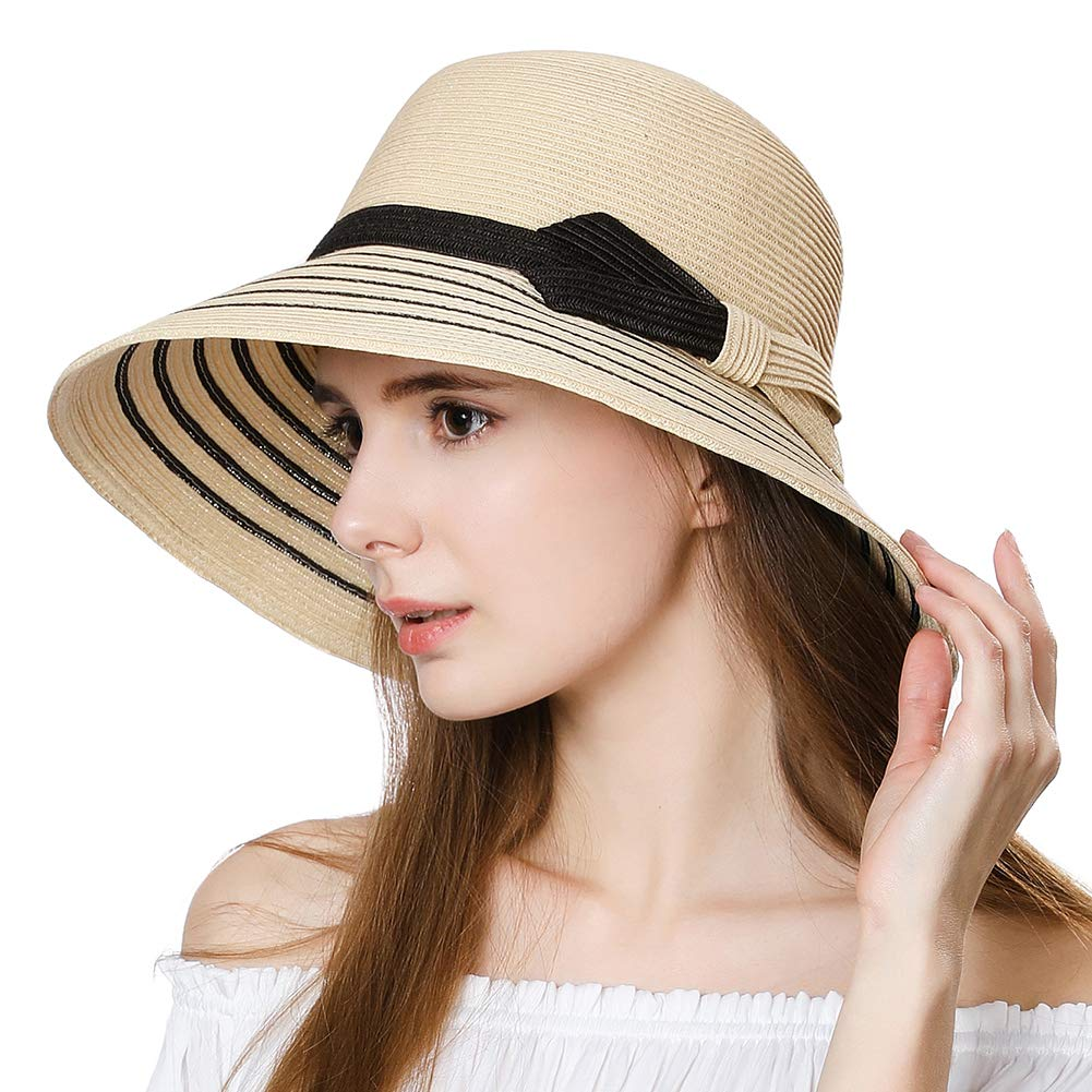 Ladies Packable Straw Sunhat UPF 50 with Chin Strap Bowknot Wide Brim Panama Fedora Beach Sun Hat Size Adjustable Beige 55-58CM