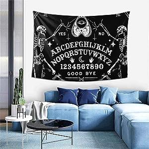 Vintage Skeleton Magic Ouija Board Black Tapestries, Boho Wall Tapestry Wall Hanging Tapestry - Home Indian Decor Retro Art Living Room Bedroom Dorm Room