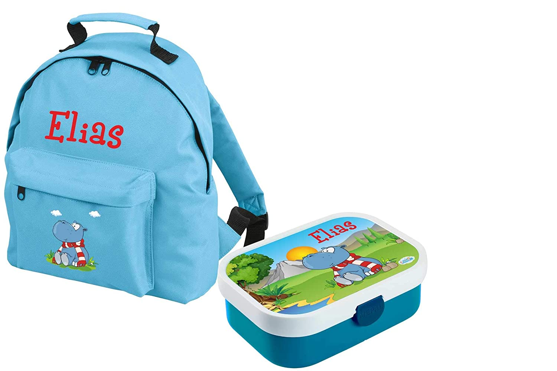 Hellblau Mein Zwergenland Set 1 Kindergartenrucksack Classic und Brotdose Mepal Bento Box mit Gabel mit Name Dino 2-teilig