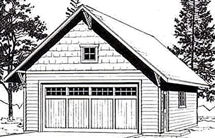 Garage Plans: Craftsman Style, Two Car Garage With Attic Truss Roof on craftsman homes with detached garage, cape cod with 3 car garage, craftsman homes with bonus room over garage,