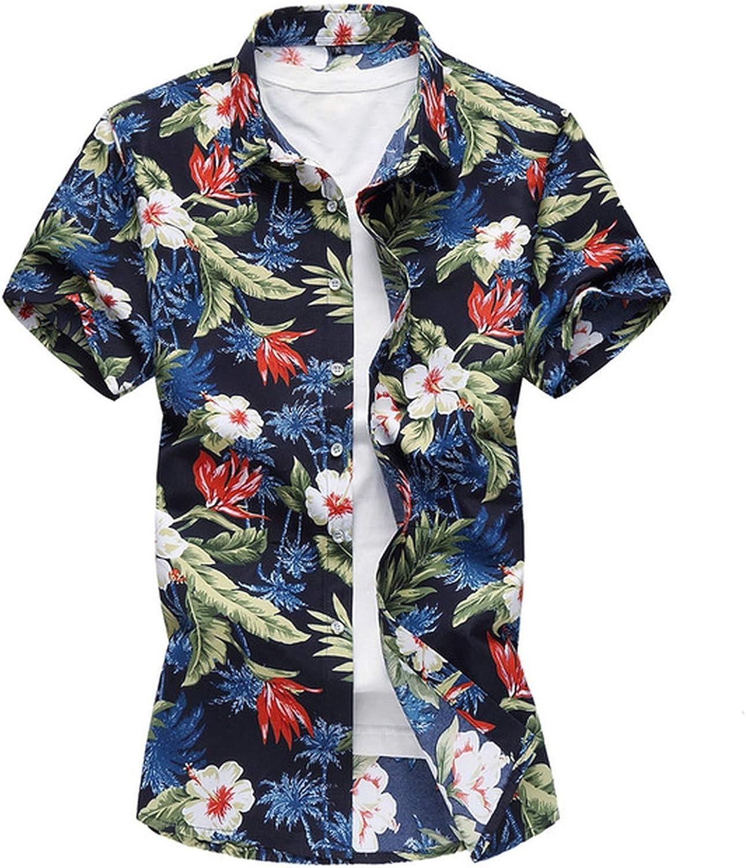 Qirong Mens Hawaiian Shirt Male Casual Camisa Masculina Printed Beach Shirts Short Sleeve Plus Size 7XL