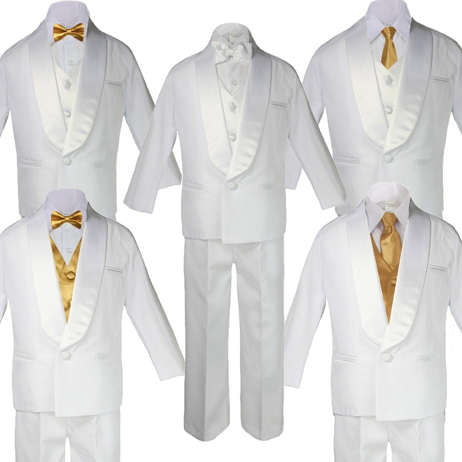 7pc Formal Boys Dark Gray Suits Extra Eggplant Vest Necktie Sets S-20 Medim: 6-12 months