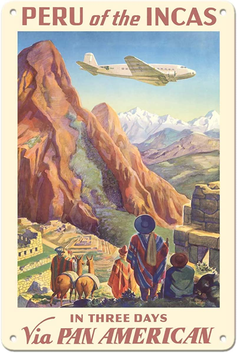 NOT Peru of The Incas Pan American Airways Placa de Cartel de Chapa Vintage Retro Cartel de Advertencia de Pared de Hierro Decoración para Bar Cafe Shop Home Garage Office Hotel: Amazon.es: