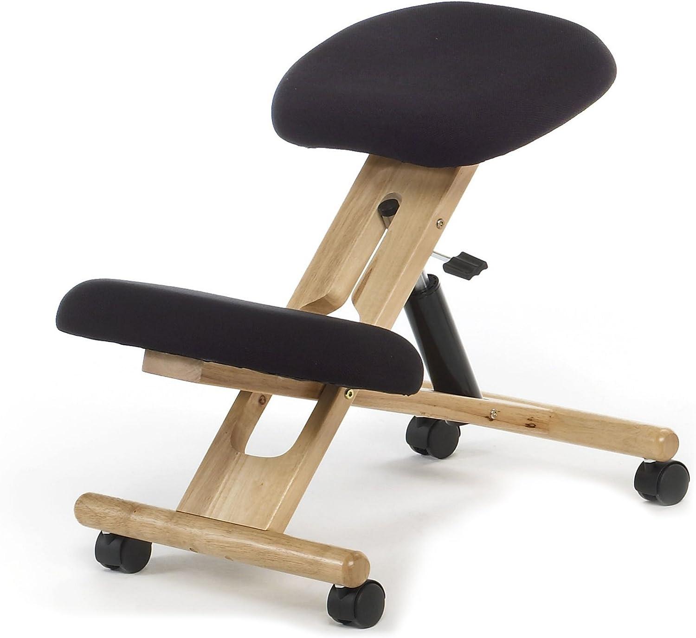 duehome - Silla de oficina ergonomica, silla acabado en color Negro y madera de maya