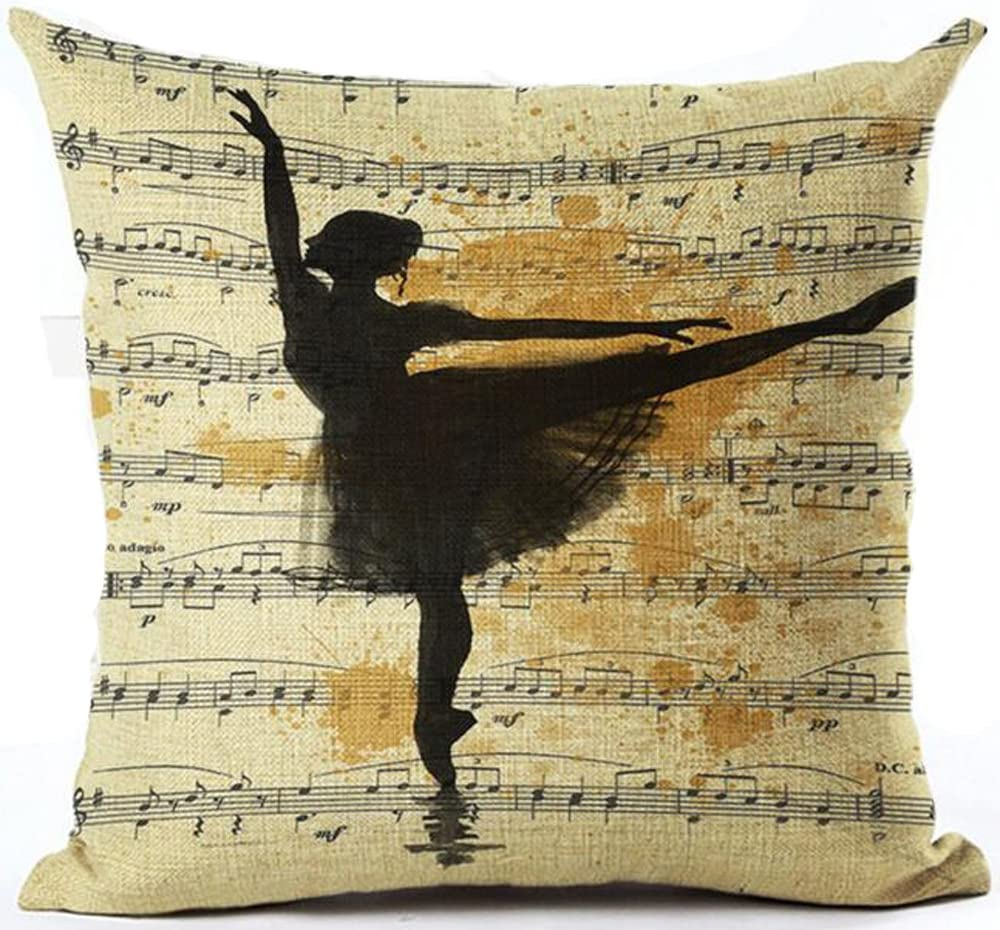 Andreannie Retro Shabby Sheet Music Beautiful Ballet Swan Lake Cotton Linen Personalized Throw Pillow Case Cushion Cover New Home Office Decorative Square 18 X 18 Inches (Ballet Dancer)