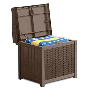 Suncast 22 Gallon Resin Storage Seat - Contemporary Indoor and Outdoor Bin Stores Tools, Toys, and Accessories - Mocha Wicker