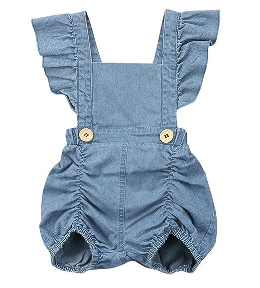 23f76d117a9d SWNONE Infant Baby Girls Ruffle Bowknot Romper Denim Jeans Short Sleeve  Sunsuit Jumpsuit One Piece (