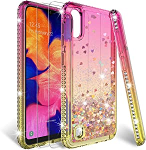 HATOSHI Samsung Galaxy A10 Case (Not Fit A10e) with Screen Protector Tempered Glass[2 Pack] for Girls Women, Floating Glitter Quicksand Sparkle Bling Clear Cute Phone Cover for Samsung A10 (Pink/Gold)