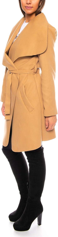 Kendindza Damen Mantel Midi Trenchcoat mit G/ürtel Rundkragen One Size