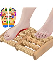 Dual Foot Massager Roller, Relieve Plantar Fasciitis, Heel, Aches and Pains, Wooden Acupressure Massage Tool Upgraded Large-Size Perfect Gift Idea by ALINK