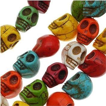 Imagen deDiseño de cuentas 20 piezas a piedra tallado de calavera Mix 9,5 x 12 mm cuentas de Color