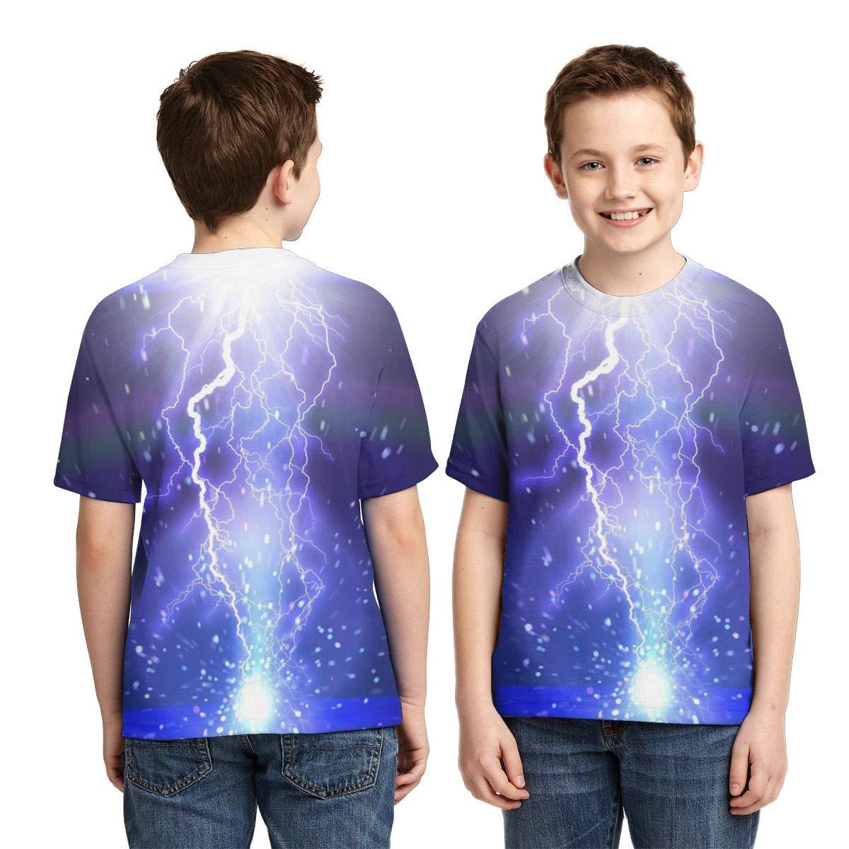 HHTZTCL Lightning Strike Kids Print Graphic Tee Short Sleeve T-Shirt