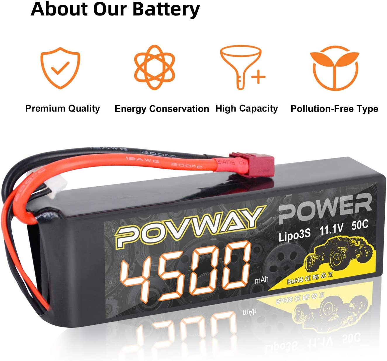 RC Helicopter RC Truck RC Boat 3S 50C LiPo Battery POVWAY 11.1V 4500mAh with T Plug Compatible RC Cars 4500mAh 3S-1pack RC Airplane