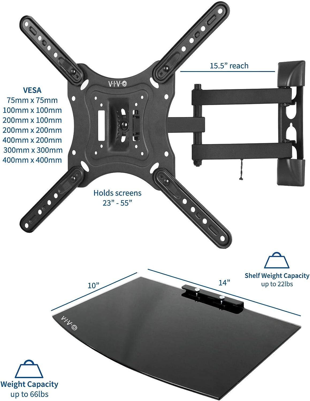 Amazon Com Vivo 23 To 55 Inch Screen Tv Wall Mount With Adjustable Tilt And Entertainment Shelf Floating Av Dvd Shelving Black Mount Vwsf1