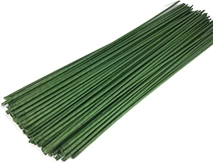 Green Floral Wire KEILEOHO 400 PCS Floral Stem Wire 14 Gauge 15.75 Inches Length Floral Paper Wrapped Wire for Flower Making DIY Floral Arrangements and Decorations