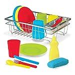 Melissa & Doug ¡Juguemos de casita! Juego para lavar y secar platos, 4 puestos de mesa,  se usa con el set de cocina o...