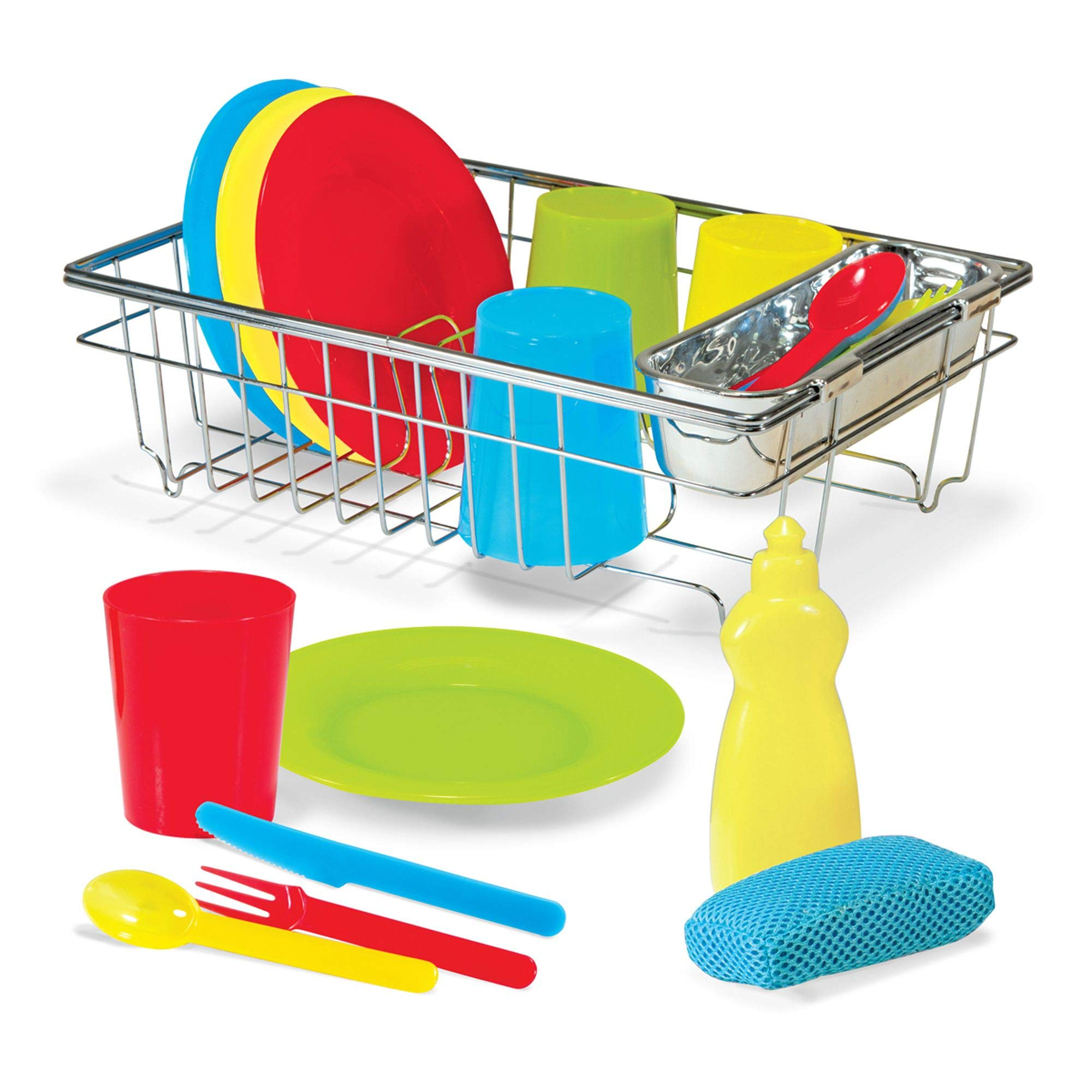 Melissa & Doug Let's Play House! Wash & Dry Dish Set, 4 Place Settings, Use with Kitchen Set or Stand-Alone, 24 Pieces, 4'' H x 11.5'' W x 8.5'' L by Melissa & Doug