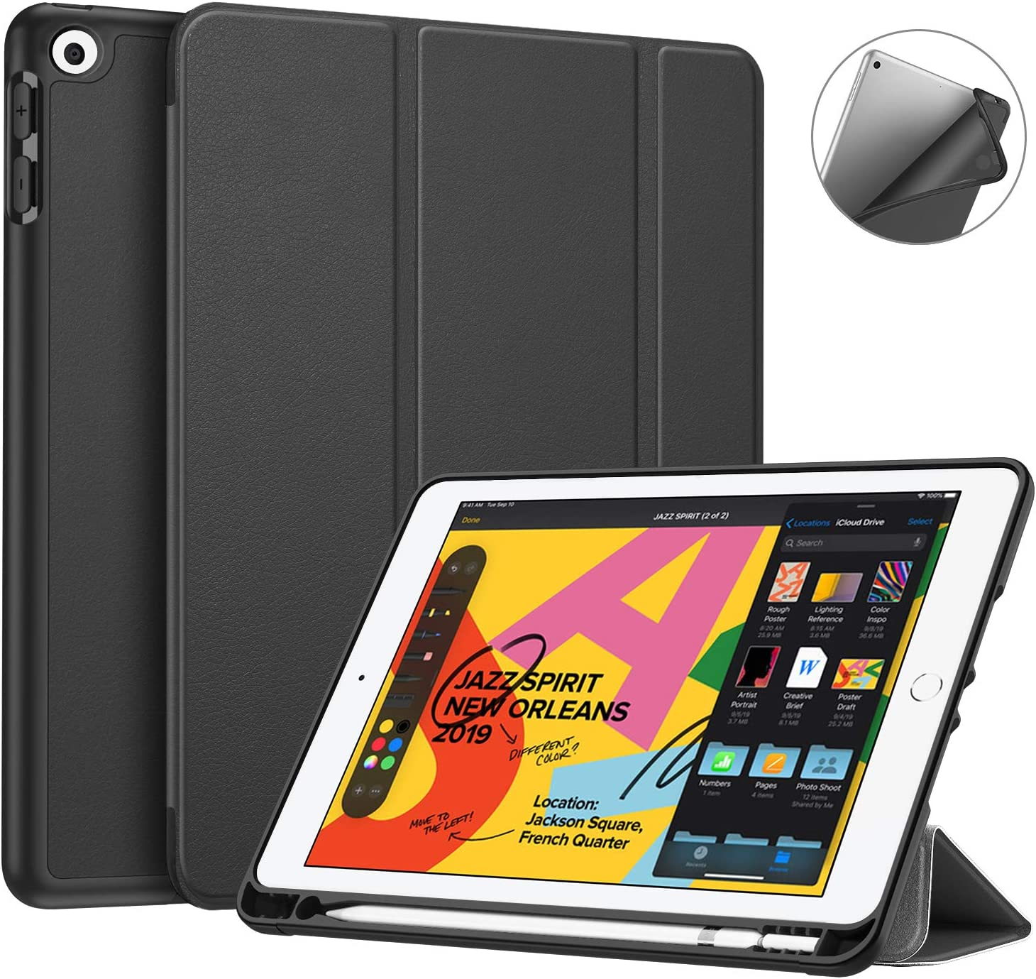 """Fintie SlimShell Case for New iPad 7th Generation 10.2 Inch 2019 with Built-in Pencil Holder - Smart Stand Soft TPU Back Cover, Auto Wake/Sleep for iPad 10.2"""" Tablet, Black"""