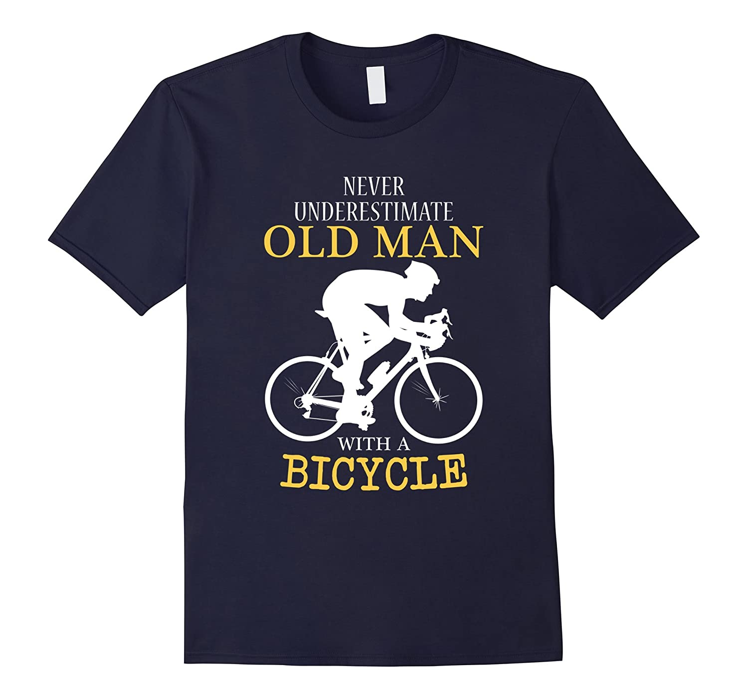 Funny Bike Fathers Day Gift Grandfather With Bicycle T-Shirt-TH