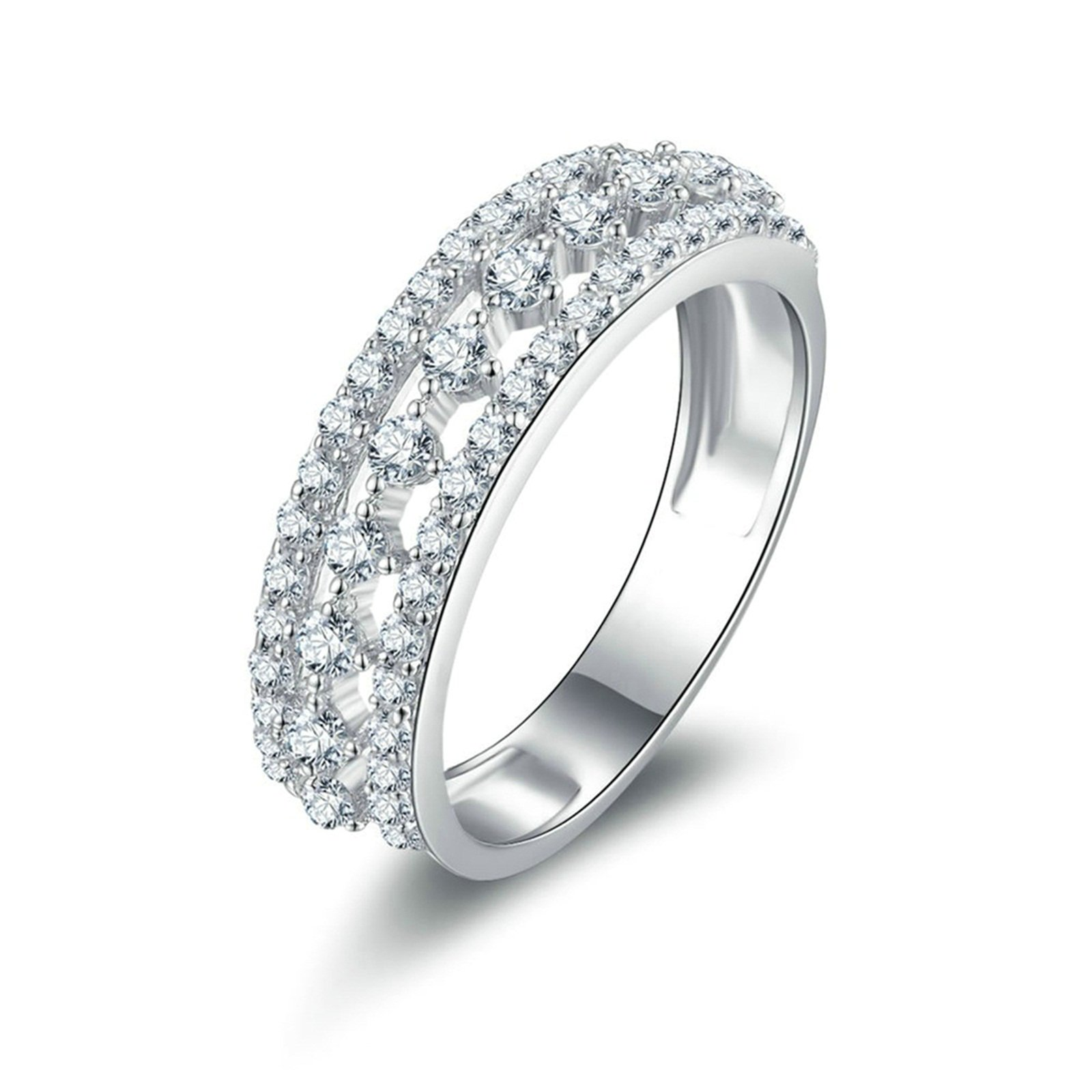 Beydodo Ring Band Engagement Ring Hollow Ring Round White Cubic Zirconia Size 5.5 Anniversary Gift