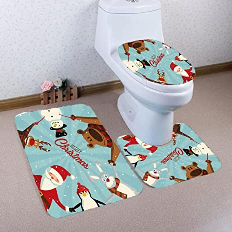 quartly 3pcsset christmas bathroom non slip pedestal rug lid toilet cover