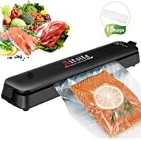 Aitsite Vacuum Sealer LP-11S Automatic Vacuum Sealing System with 15 Food Fresh Saver Plastic Bags for Kitchen Black