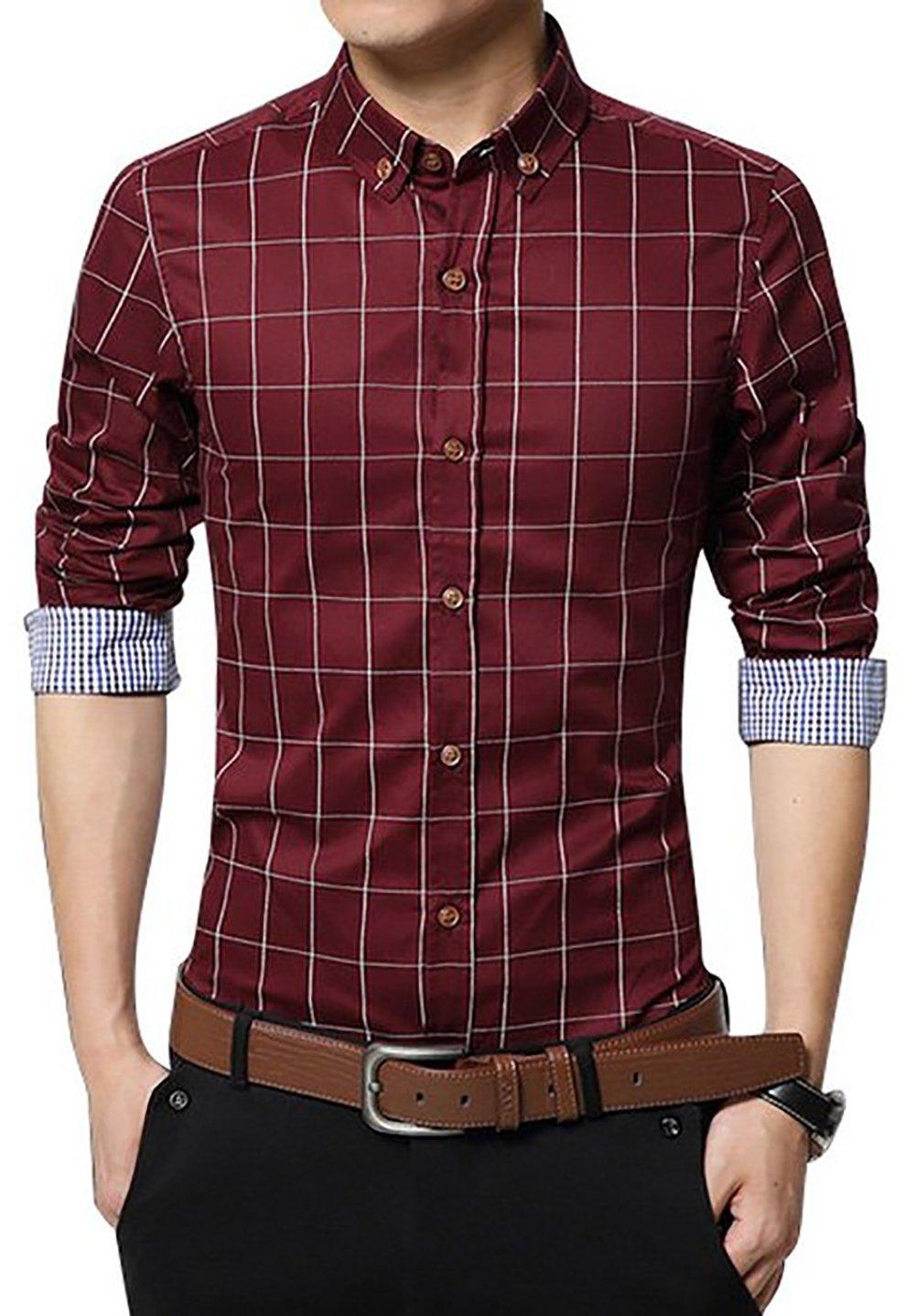 LOCALMODE Men's 100% Cotton Long Sleeve Plaid Slim Fit Button Down Dress Shirt CS52