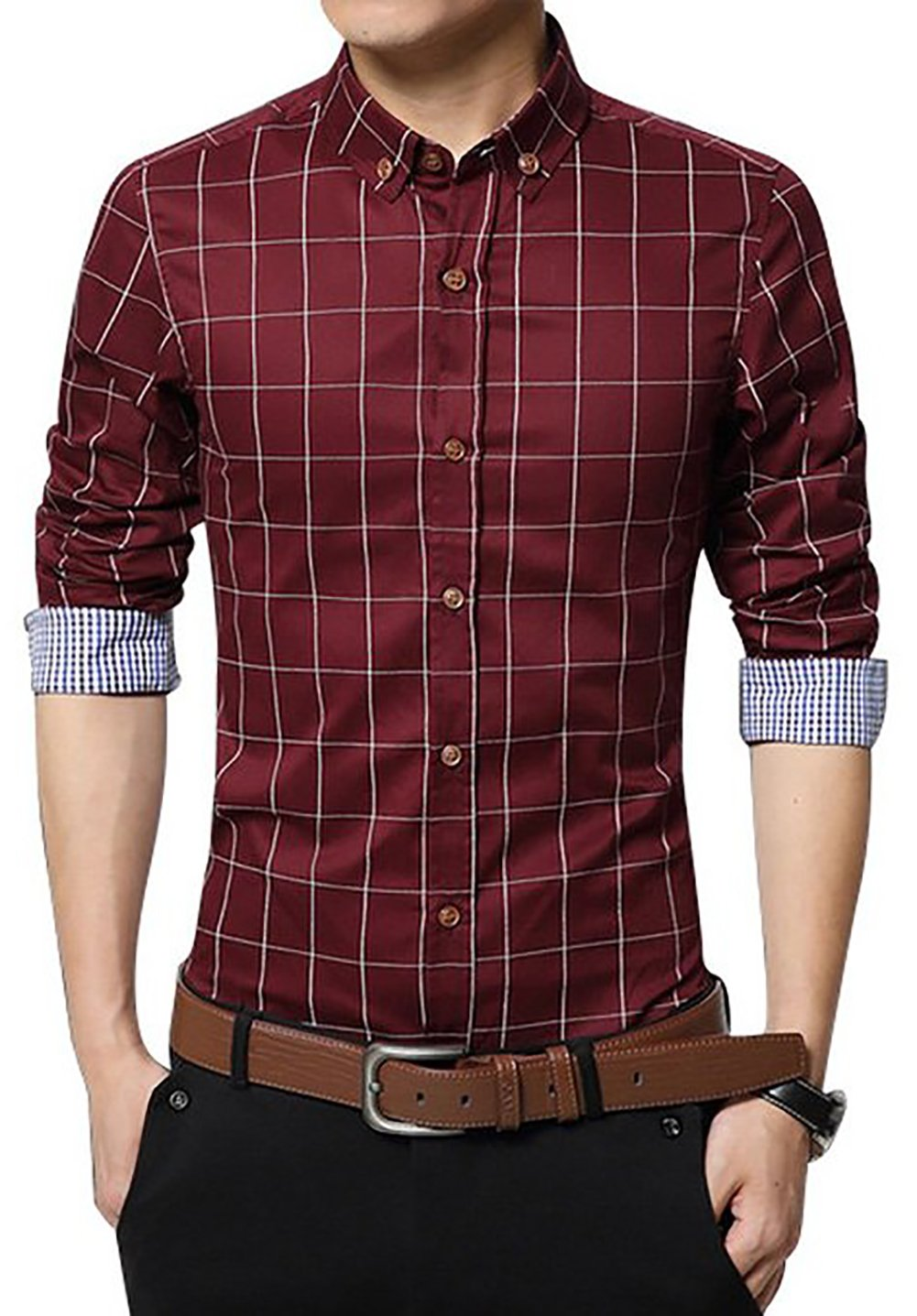 LOCALMODE Men's 100% Cotton Long Sleeve Plaid Slim Fit Button Down Dress Shirt,Wine Red,Large