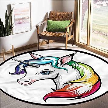 Amazon.com: Room Rugs Rainbow,Unicorn with Colorful Mane ...
