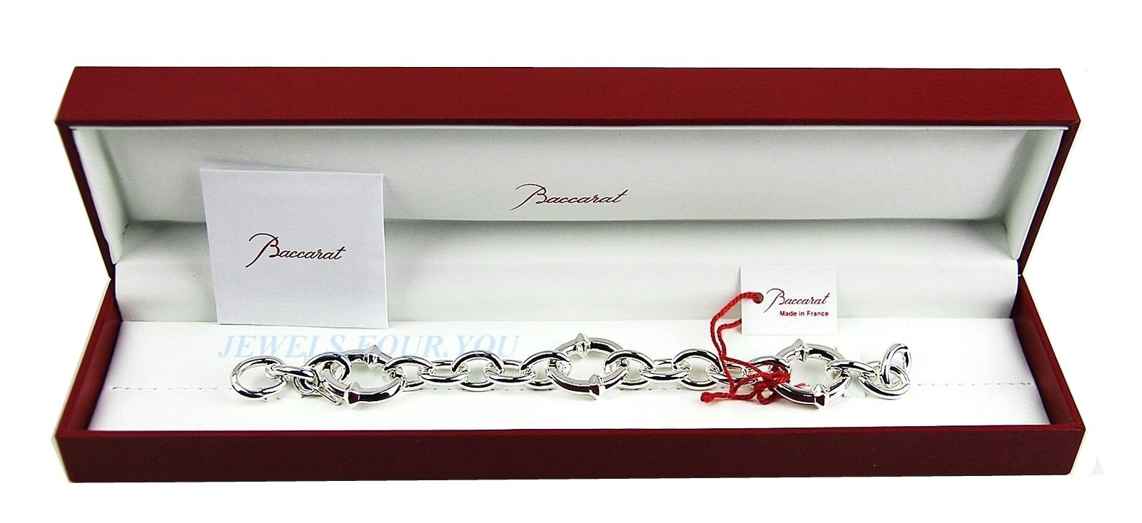 BACCARAT JEWELRY B MANIA SOLID STERLING SILVER 8 3/4'' BRACELET