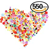 Swpeet 550 Pieces Assorted Sizes Resin Buttons 2 and 4 Holes Round Craft Buttons for Sewing DIY Crafts Children's Manual Button Painting (Mixed color)
