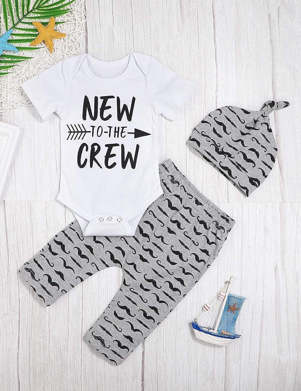 Moustache Pants+Hat 3Pcs Outfits Set Newborn Baby Boy Clothes Hipster Bowtie Strap Short Sleeve Bodysuit