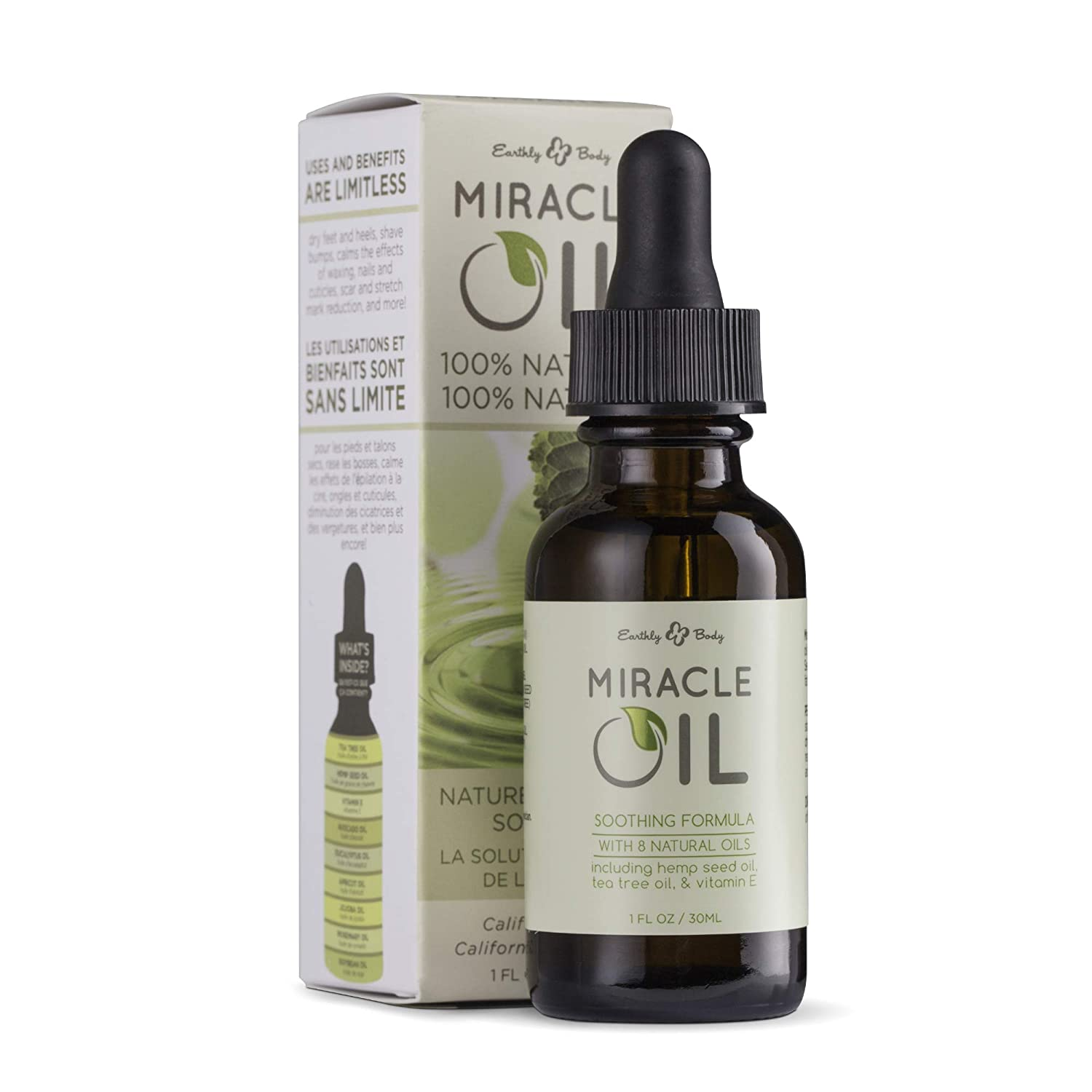 Earthly Body Miracle Oil, 1 fl. oz. - 100% Natural Tea Tree Oil, Hemp Seed Oil & Vitamin E - Moisturizer, Calms Skin Irritations, Helps Smooth Wrinkles - Gluten Free, 100% Vegan