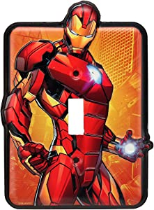 Open Road Brands Marvel Iron Man Tin Metal Wall Light Switch/Plate an Officially Licensed Product Great Addition to Add What You Love to Your Home Decor
