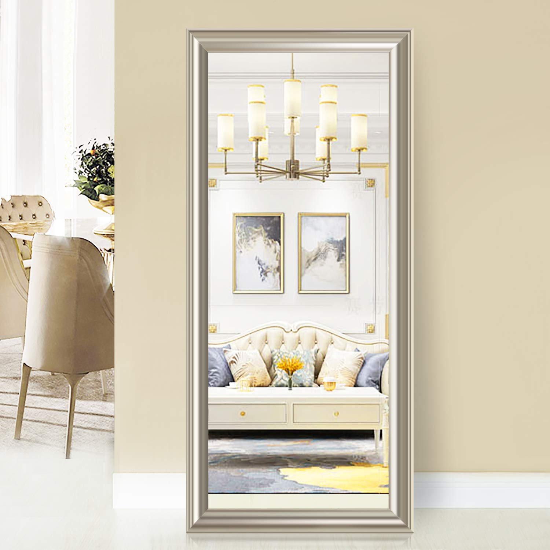 Pexfix Rectangular Full Length Mirror Bedroom Floor Mirror Standing Or Hanging 65x22 Champagne