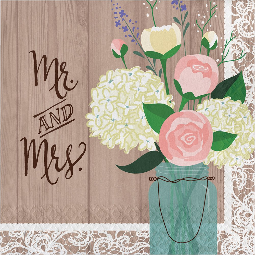 Creative Converting 192-Count Paper Lunch Napkins, Mr. and Mrs. Rustic Wedding
