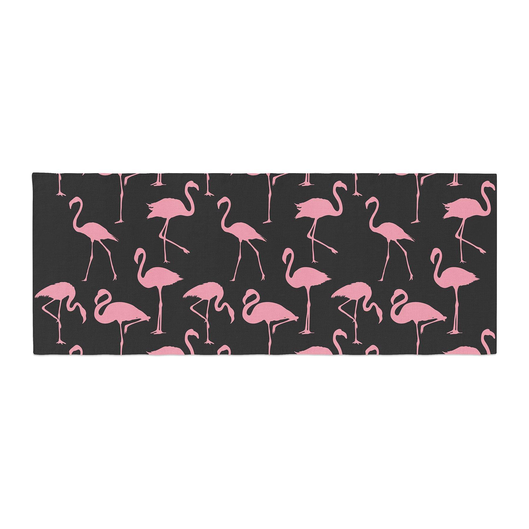 Kess InHouse Kess Original Pink On Black Illustration Animals Bed Runner, 34'' x 86''