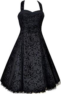 50s Vintage / Alternative Black Tattoo Flock Party Prom Flared Dress