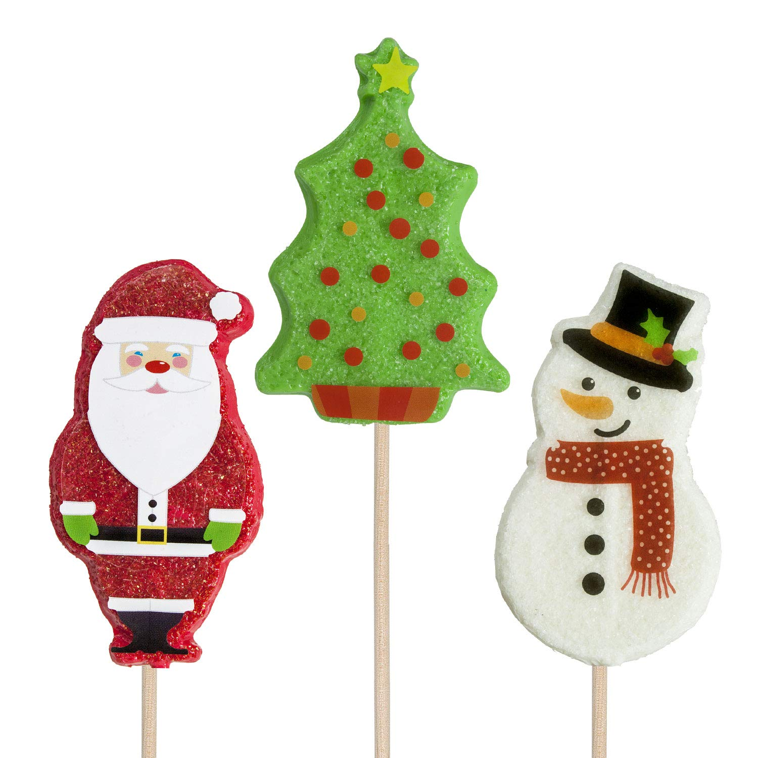 Sweet Holiday Hard Candy Lollipop Assortment Santa Snowman Tree (24 ct) by Melville Candy