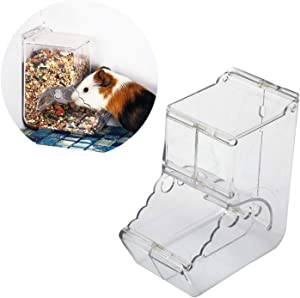 Hamster Feeder, Food Dispenser Transparent Acrylic, Automatic Gravity Feeder, Suitable for Feeding Hamsters, Guinea Pigs, Pigeons, Parrots, Birds, Mini Hedgehogs, and Other Small Animals (400ml)