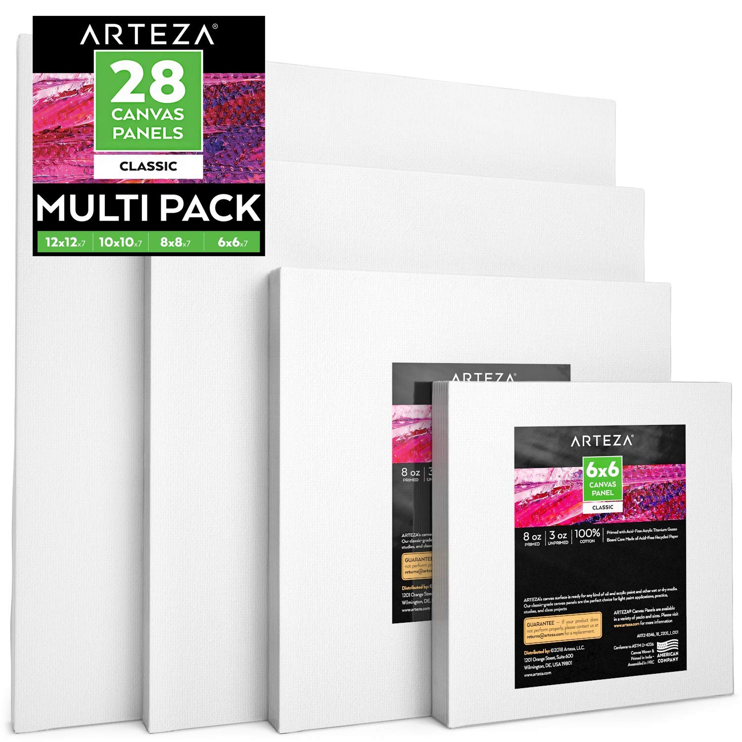 Arteza Painting Canvas Panels Multi Pack, 6x6'', 8x8'', 10x10'', 12x12'' Set of 28, Primed White, 100% Cotton with Recycled Board Core, for Acrylic, Oil, Other Wet or Dry Art Media, for Artists
