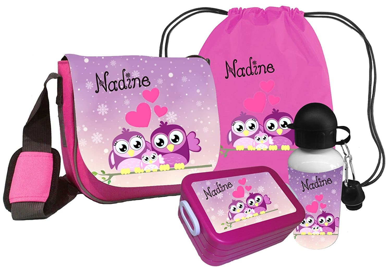 Kindergartentasche Peppi EULE Family mit Name des Kindes Kindertasche Tasche Set Besteeht aus: Trinkflasche, Brotdose, Turnbeutel & Kindergartentasche
